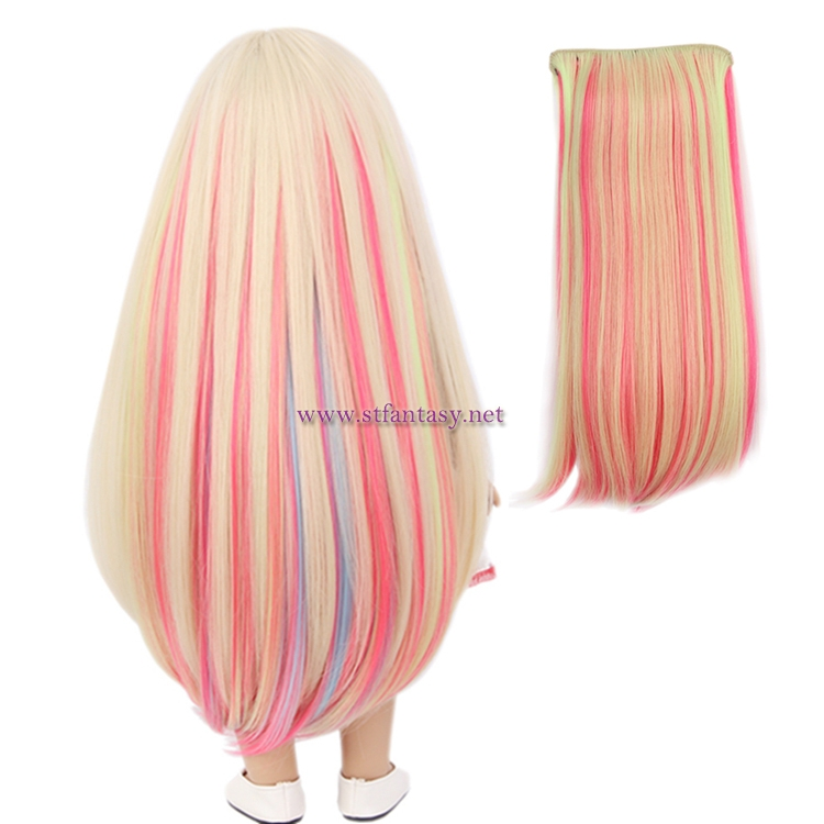China Clip In Hair Extensions Manufacturers Synthetic Wig Colorful