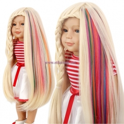 China Clip In Hair Extensions Suppliers Long Straight Rainbow Wig For American Doll Wig