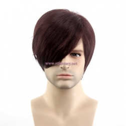 China Men Wig Wholesale Good Quality Synthetic Hair Short Straight Burgundy Wig