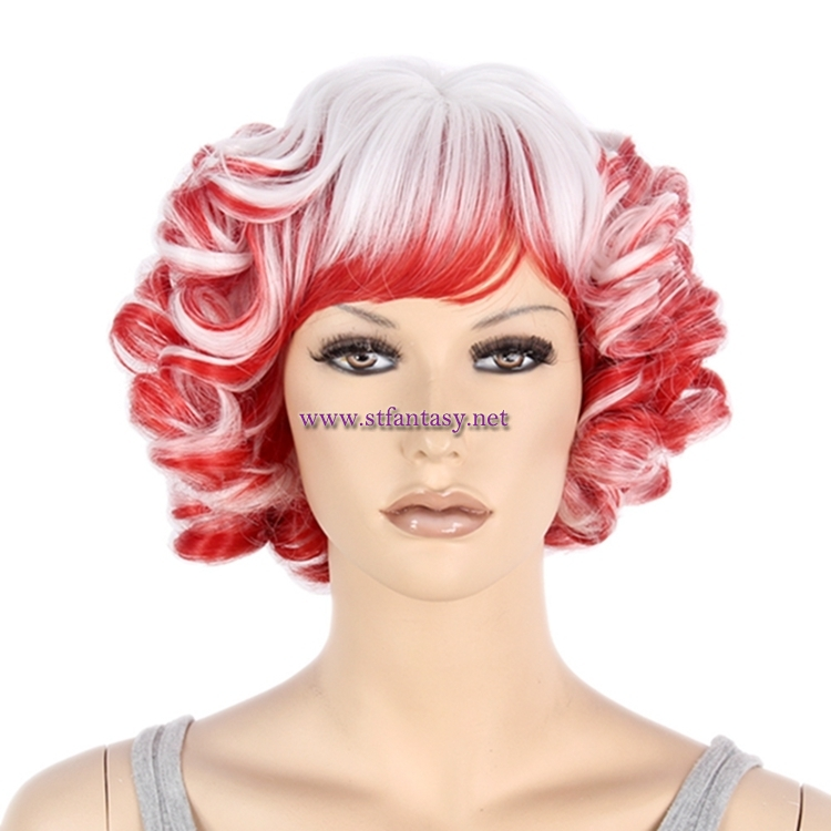 China Wholesale Cheap Synthetic Wigs Red Mixed White Short Curly Party Wig  For Women a441fb14a