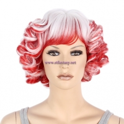 China Wholesale Cheap Synthetic Wigs Red Mixed White Short Curly Party Wig For Women