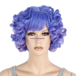 China Synthetic Wigs Wholesale Blue Mixed Color Short Curly Hair Wigs For Party