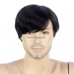 Men Short Hair Wig-12 Inch Black Straight Short Wig With Bangs For Men