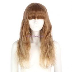 Fashion Women Hair Wig-Wholesale 23 Inch Golden Ombre Long Curly Synthetic Wigs For Women