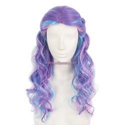 Colorful Long Curly Wig-Purple Mixed Blue Color Heat High Temperature Synthetic Hair Wig For Party
