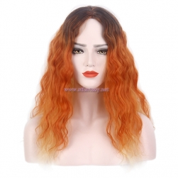 Women Cosplay Wig-Wholesale 23 Inch Long Curly Orange Ombre Wig For Women