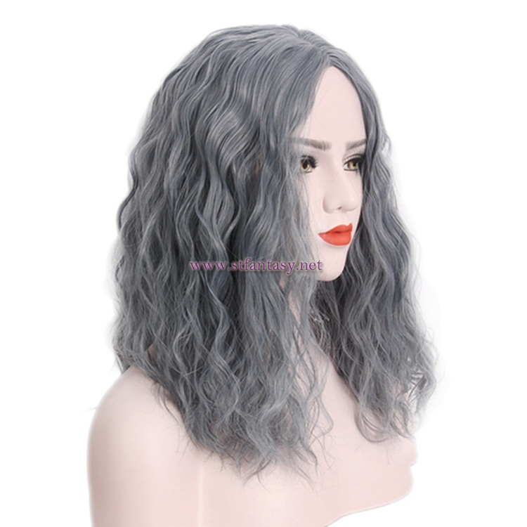 Guangzhou Wig-Wholesale Vogue Mid-Length Linen Gray Hair Synthetic