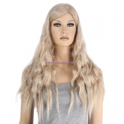 "Wig Blonde- 26"" Long Curly High Temperature Wire Side Part Wig Supply"