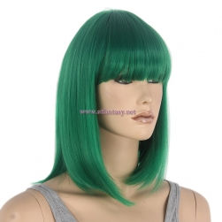 "Party Wig Supplier-Wholesale 14"" Short Bob Wig  Green Wig with Bangs"