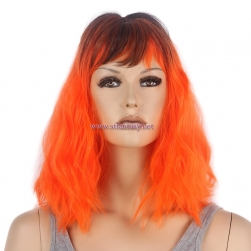 "Guanghzou Wig Supplier-16"" Ombre Orange Party Wig for Women"
