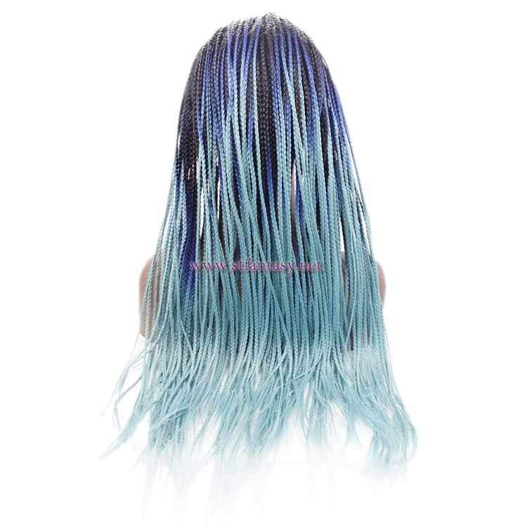 Braided Lace Front Wigs- 2018 New Synthetic Ombre Blue Wig for Black Women