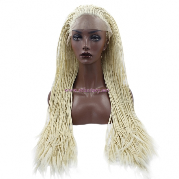 "Fully Braided Lace Front Wigs-8-30"" Light Yellow Synthetic Wig for Women"