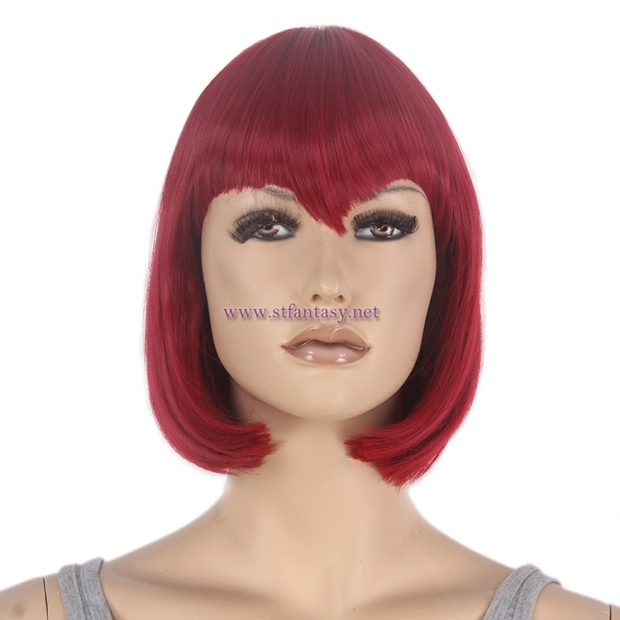 Mannequin Wig Manufacturer - Wholesale 8 inch Red Bob Wig with Fringes