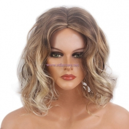 ShenZhen Wig -Short Curly Mixing Color Middle Part Wig for Women