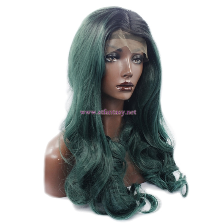 Ombre Wig Supplier- 26 inch Long Curly  Synthetic Lace Front Wig