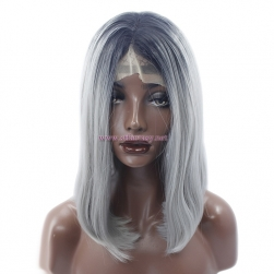 China Wig Supplier- Black Ombre Gray Straight Synthe Lace Front