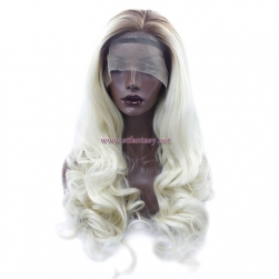 China Wig Supplier- 27 inch Long Curly Light Yellow Synthetic Lace Front Wig