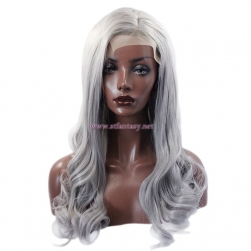 ShenZhen Wig Supplier- Silver Gray Sexy Curly Lace Front Wig