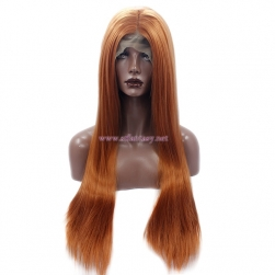 Guangzhou Wig Vendor- 28 inch Brown Straight Synthetic Lace Front Wig