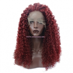 Burgundy Lace Front Wig- Wholesale Kinky Curly Synthetic Wig for Women