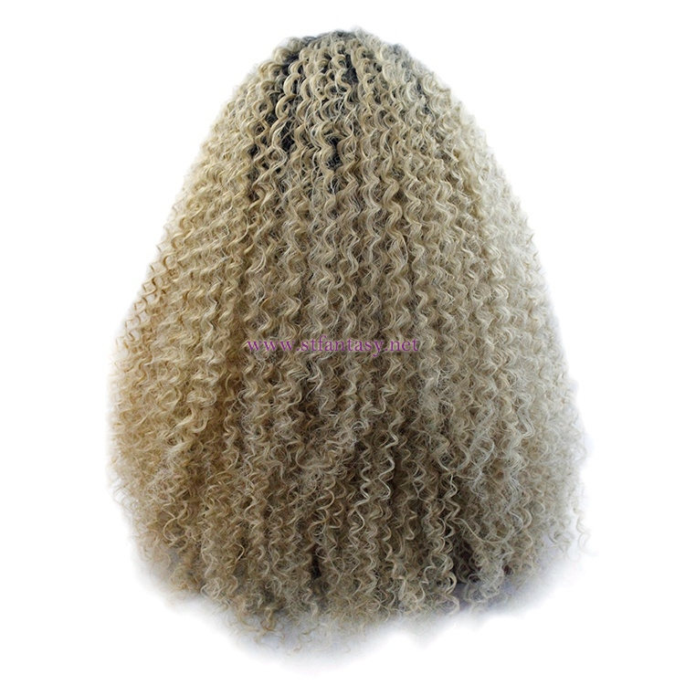 Short Afro Wig-Wholesale  Light  Yellow Curly Synthetic Lace Front Wig
