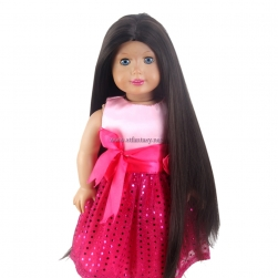 "STfantasy Doll Wig for 18"" American Girl AG OG Doll Journey Girls Gotz My Life Black Brown Long Straight Synthetic Hair Girls Gift"