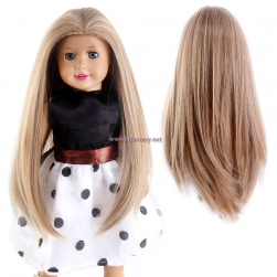 "STfantasy Doll Wig for 18"" American Girl Doll AG OG Journey Girls Gotz My Life Ombre Blonde Straight Synthetic Hair Girls Gift"