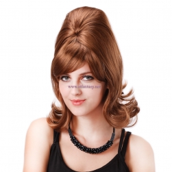 STfantasy Beehive Wig for Women 50s 60s Cosplay Costume Halloween Party Reddish Brown Medium Long Wavy Synthetic Hair