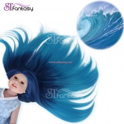 "STfantasy Doll Wig for 18"" AG OG Doll Journey Girls Gotz My Life Ombre Blue Two Tone Straight Synthetic Hair Girls Gift"