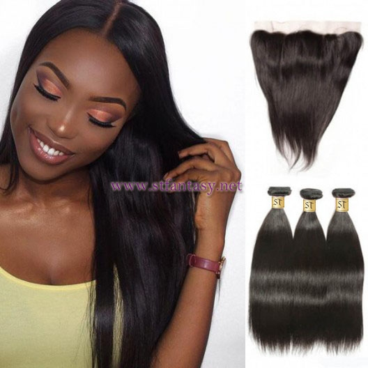 ST Fantasy Malaysian Lace Frontal Closure With 3Bundles Straight Hair