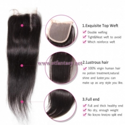 ST Fantasy Indian Virgin Hair Straight 4*4Inch Lace Closure Piece