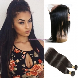 ST Fantasy 360 Lace Frontal Closure Straight Hair With 2Bundles Virgin Hair