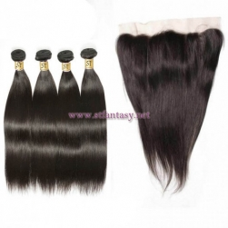 ST Fantasy Brazilian Straight Hair Lace Frontal Closure With 4Bundles Natural Color