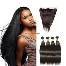 ST Fantasy Malaysian Straight Lace Closure 4*4Inch With Human Hair 3Bundles