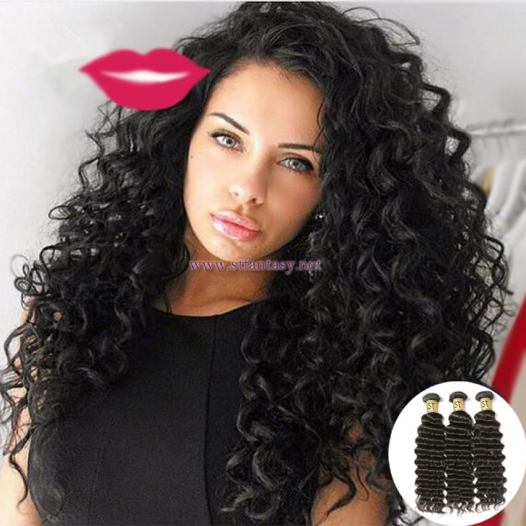 ST Fantasy Indian Virgin Deep Wave Hair Weave 3Bundles Deals