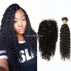 ST Fantasy Best Curly Malaysian Virgin Hair 3Bundles With Lace Closure