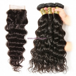 ST Fantasy Brazilian Natural Wave 3 Bundles With Closure Virgin Hair On Sale