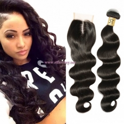 ST Fantasy Indian Human Hair Body Wave 4Bundles With Lace Closure