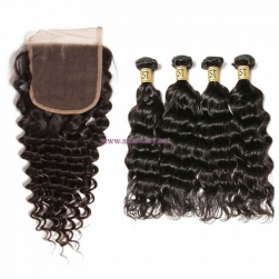 ST Fantasy  Deep Wave Lace Closure with 4 Bundles Virgin Hair