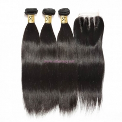 ST Fantasy 4Bundles Brazilian Straight Hair With Lace Closure 44