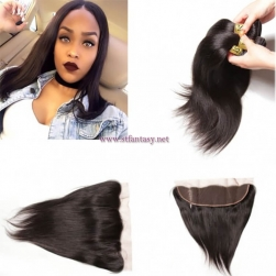 ST Fantasy Peruvian Straight Hair Lace Frontal Closure 134 With 3Bundles