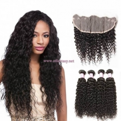 ST Fantasy Brazilian Hair Lace Frontal Closure 134 With 4Bundles Jerry Curl