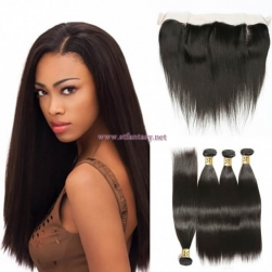 ST Fantasy Peruvian Straight Hair 4Bundles With 13X4 Lace Frontal Closure