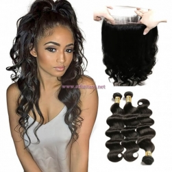 ST Fantasy 360 Lace Frontal Closure With Body Wave Wet and Wavy Human Hair 3Bundles
