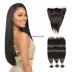 ST Fantasy Brazilian Straight 13x4 Lace Frontal With Human Hair 3Bundles