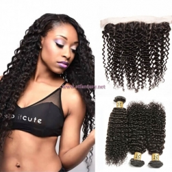 ST Fantasy Malaysian Curly Virgin Hair Lace Frontal Closure With 3Bundles