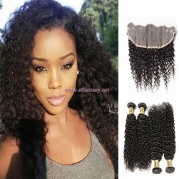 ST Fantasy 4Bundles Peruvian Jerry Curly Hair With 134 Lace Frontal Closure