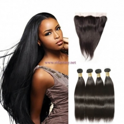 ST Fantasy Malaysian Straight Hair Frontal Closure With 4Bundles