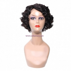 ST Fantasy Pre-plucked Natural Side Part Short Wave Bob Wig