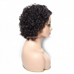 ST Fantasy Natural Hairline Short Curly Side Part Lace Human Hair Wig 4 colors